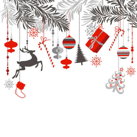 Christmas tree branches and ornaments hanging down elegantly Vector