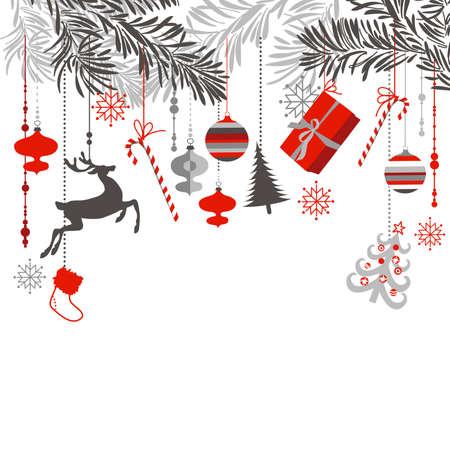 abetos: Ramas y árboles de Navidad que cuelga elegantemente Vectores