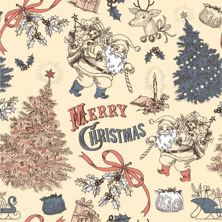 christmas seamless pattern: Vintage Christmas seamless pattern