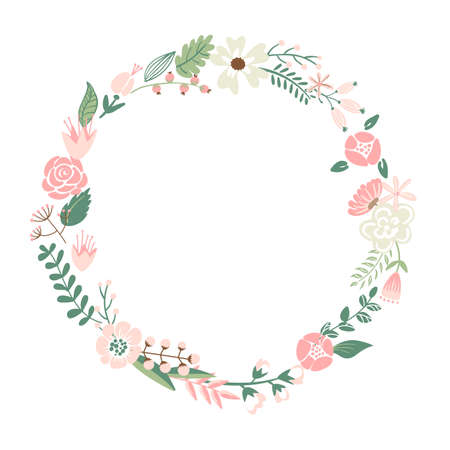 Cute retro flowers arranged in a shape of the wreath perfect