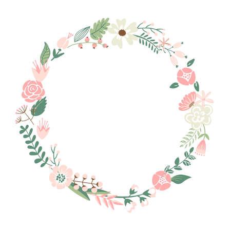 marcos redondos: Lindas flores retro dispuestos en forma de la corona perfecta