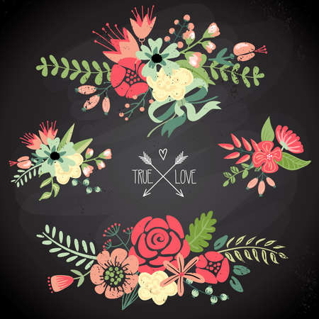 Cute floral bouquets, retro flowers  Vector