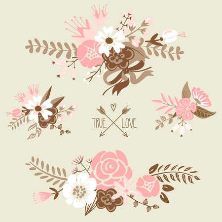 Cute floral bouquets, retro flowers Imagens - 25077211