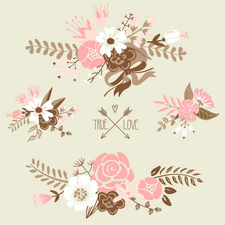 Cute floral bouquets, retro flowers