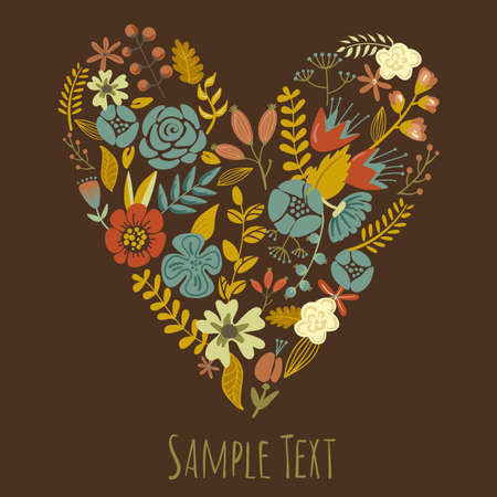 Autumn Floral Heart Card Vector