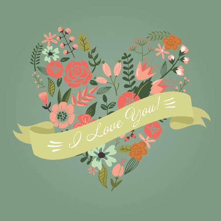 Cute retro flowers arranged in a shape of the heart 일러스트