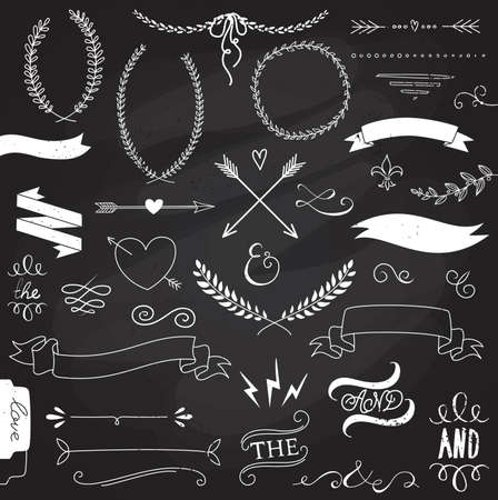 chalkboard: Wedding graphic set, arrows, hearts, laurel, wreaths, ribbons and labels.  Illustration
