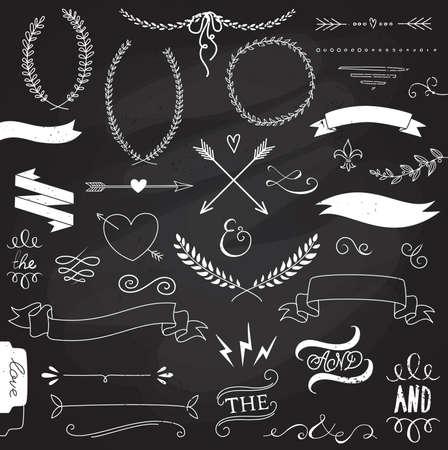 lavagna: Wedding set grafico, frecce, cuori, alloro, ghirlande, nastri ed etichette.