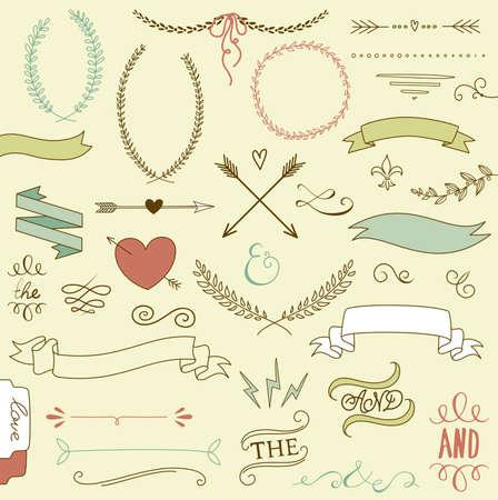 Esküvői képek csoport, nyilak, szív, babér, koszorúk, szalagok és címkék. Illusztráció