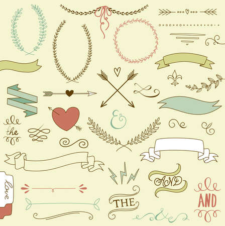 Wedding graphic set, arrows, hearts, laurel, wreaths, ribbons and labels.  Vector