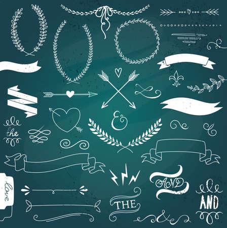 laurels: Wedding graphic set, arrows, hearts, laurel, wreaths, ribbons and labels.  Illustration