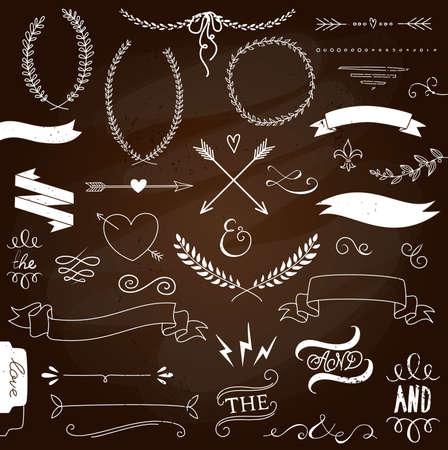 Bruiloft grafisch set, pijlen, harten, laurier, kransen, linten en labels.
