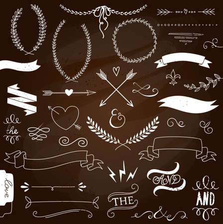 Wedding graphic set, arrows, hearts, laurel, wreaths, ribbons and labels.  Ilustração