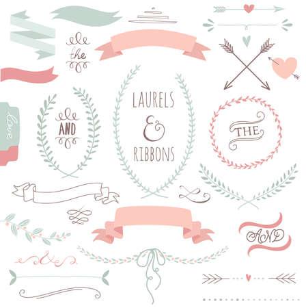 Mariage ensemble graphique, flèches, coeurs, laurier, guirlandes, rubans et étiquettes. Banque d'images - 25077098