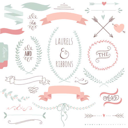 date: Wedding graphic set, arrows, hearts, laurel, wreaths, ribbons and labels.  Illustration