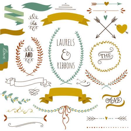 conjunto: Conjunto del gráfico de la boda, flechas, corazones, laurel, coronas de flores, cintas y etiquetas. Vectores