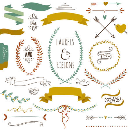 Wedding graphic set, arrows, hearts, laurel, wreaths, ribbons and labels.  Çizim