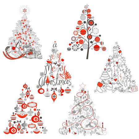 Christmas tree collection Ilustração