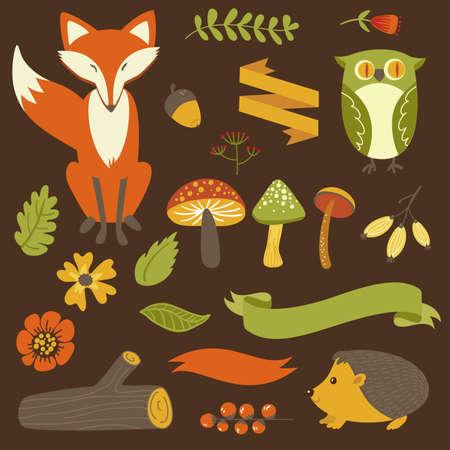 autumn forest: Autunno foresta, animali del bosco, fiori e nastri Vettoriali