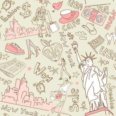 New York seamless doodles pattern Imagens - 25077093