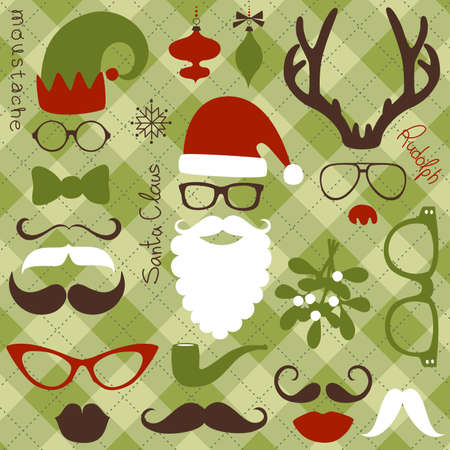 Retro Party set - Santa Claus beard, hats, deer antlers, bow, glasses, lips, mustaches Ilustração