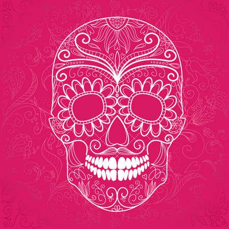 died: D�a de los Muertos y rosa Cr�neo blanco Vectores