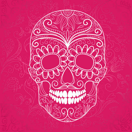 Day of The Dead pink and white Skull  Vector