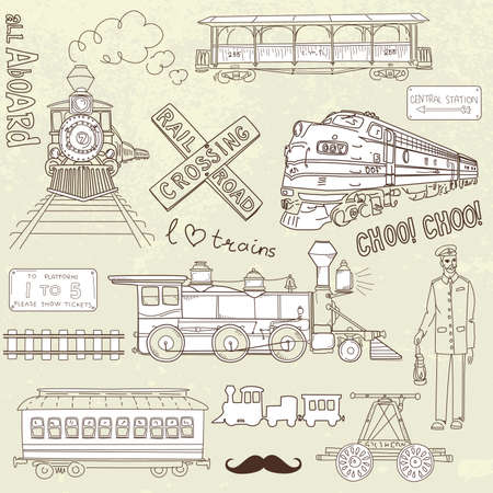 Collection of vintage trains and railroad doodles  Vectores