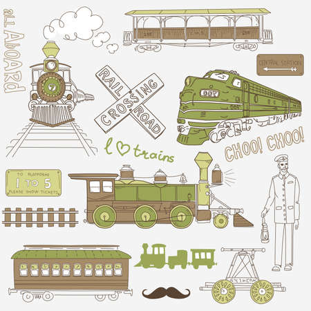 Collection of vintage trains and railroad doodles  Ilustração