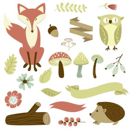 秋の森、森の動物、花およびリボン