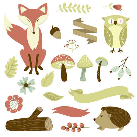 Autumn forest, woodland animals, flowers and ribbons  Vector