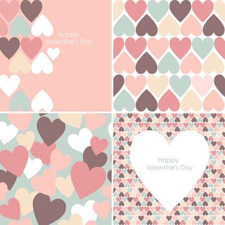 set of Valentines seamless pattern  Ilustração