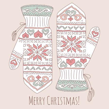 Hipster Christmas card with mittens  Ilustração