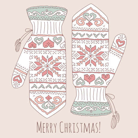 Hipster Christmas card with mittens Imagens - 25077026