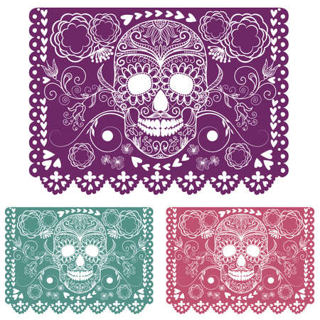 mexico: Day of the dead decoration. Papel Picado  Illustration