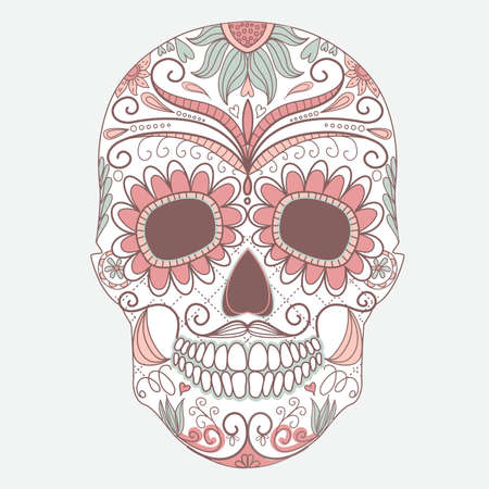 花の飾りと死者のカラフルな頭蓋骨の日
