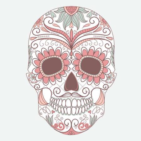 morte: Dia do cr�nio colorido Morto com ornamento floral Ilustração