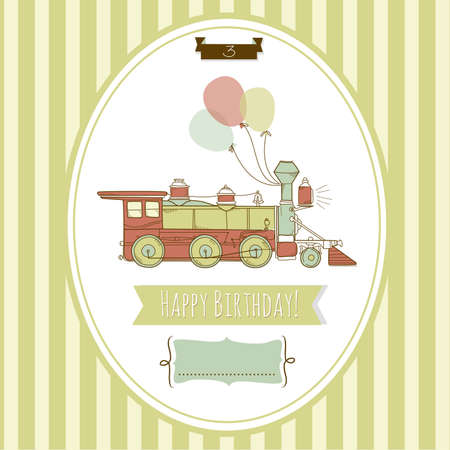 Cute blue and green train birthday card Vector