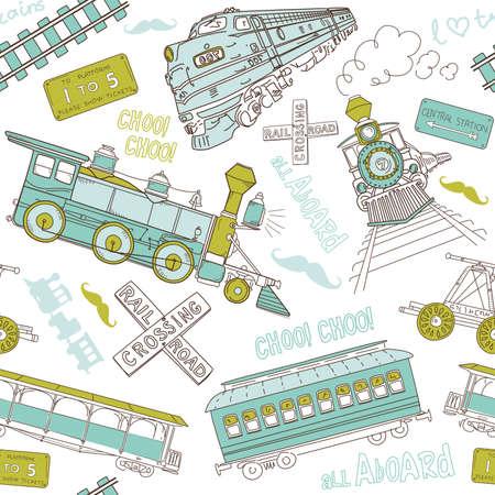 Naadloze patroon vintage treinen en spoorweg doodles