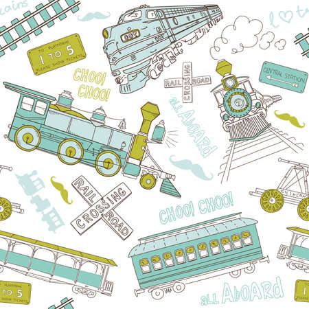 Seamless pattern vintage trains and railroad doodles