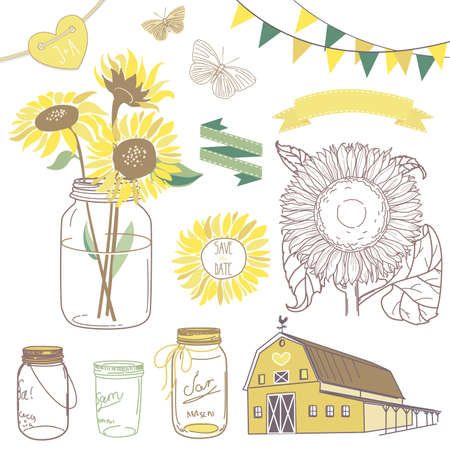 Glass Jars, sunflowers, ribbons, bunting, butterflies and cute rustic barn Vectores
