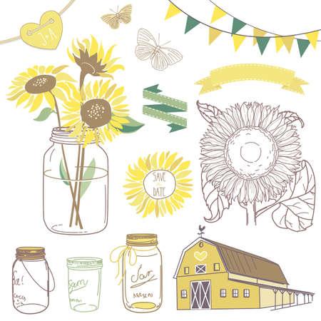 Glazen potten, zonnebloemen, linten, gors, vlinders en leuke rustieke schuur Stock Illustratie