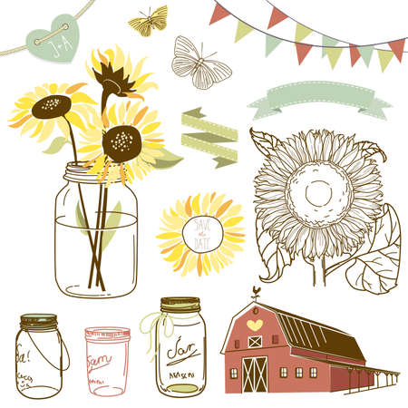 Glass Jars, sunflowers, ribbons, bunting, butterflies and cute rustic barn Vector