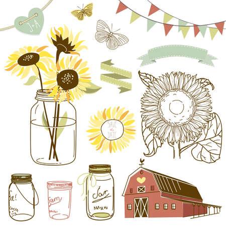 Glazen potten, zonnebloemen, linten, gors, vlinders en leuke rustieke schuur Vector Illustratie