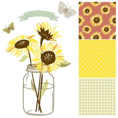 Glass Jar, sunflowers, ribbon, butterflies and cute rustic seamless backgrounds Vector