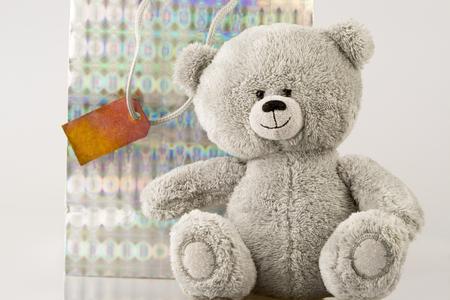 Bear with bag Stock Photo
