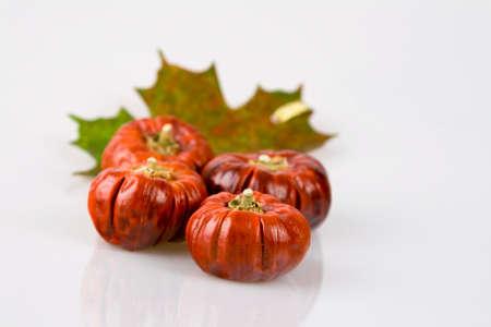 Pumpkins and leaf Stock Photo