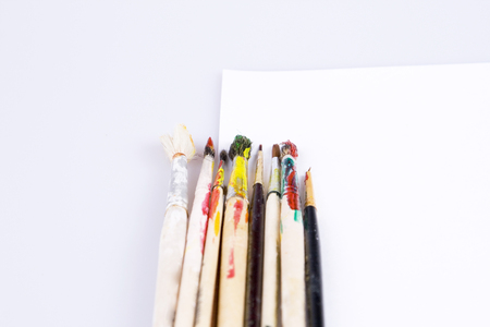 Color brush and white page Stock Photo