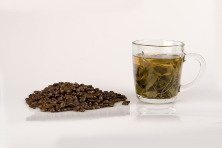 Coffee beans and green tea Stock Photo