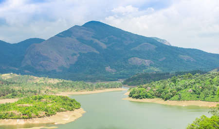 landscape the mountain and the river in India Kerala photo